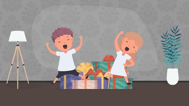 Дети радуются подаркам. счастливые дети, много подарков. концепция праздников. вектор.