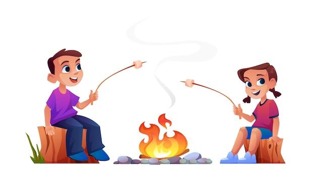 Children rest at campfire together marshmallow bbq