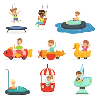 Children ride on attractions in the amusement park, set for  . cartoon detailed colorful illustrations