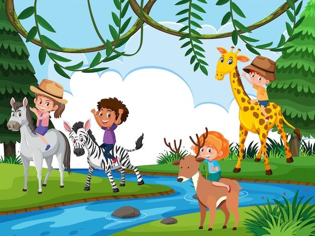 自然の中で動物に乗る子供たち