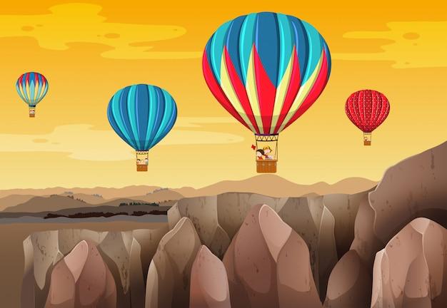 Сцена на воздушном шаре для детей