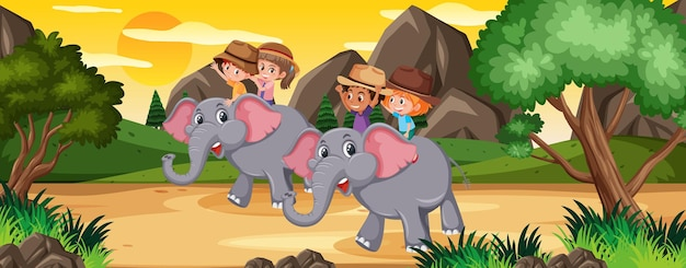 Children riding elephant in nature