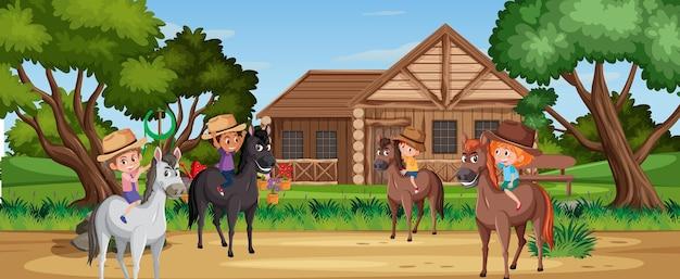 Дети верхом на лошади на природе