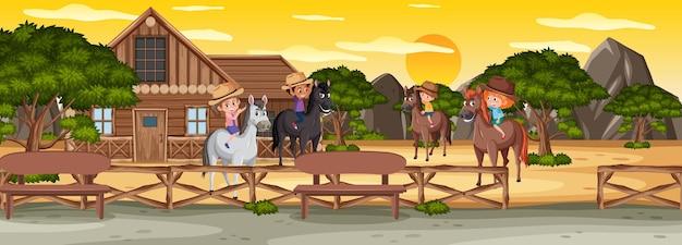 자연 속에서 말을 타는 아이들