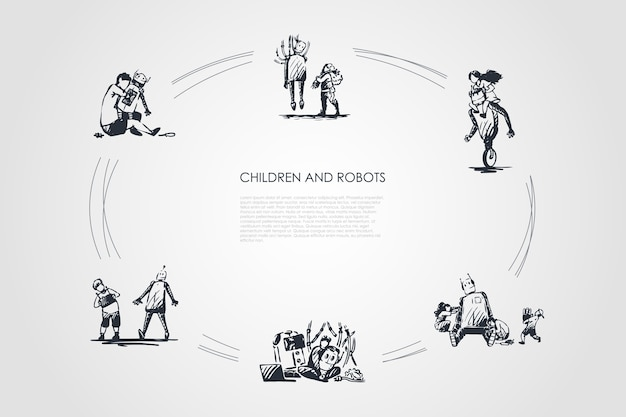 Children and robots hand drawn cicle