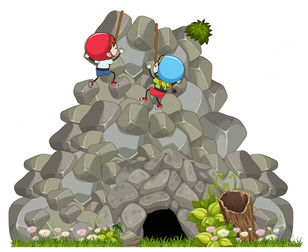 Children rockclimbing a big rock