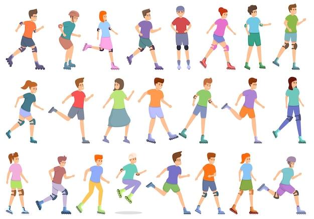 Children rollerblading icons set. cartoon set of children rollerblading vector icons for web design