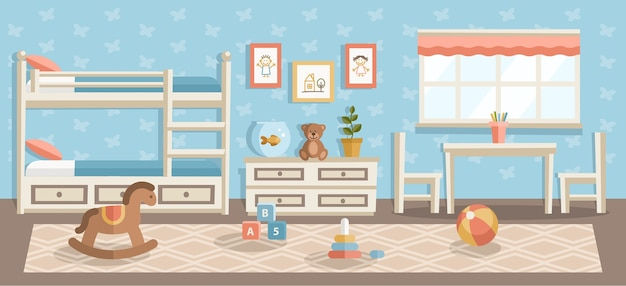 Children room flat illustration, nursery, kindergarten modern interior design, beach ball, pyramid kids toys in bedroom, child drawings hanging on blue wall and beige carpet on wooden floor