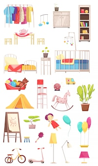 Children room interior elements set with clothing, furniture, toys, plants, bike and scooter illustration