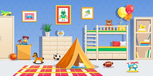 Интерьер детской комнаты с белой мебелью, спортивные мячи, палатка и разноцветные игрушки, горизонтальная квартира