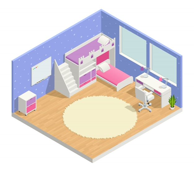 Children room isometric composition with bed desk and blackboard