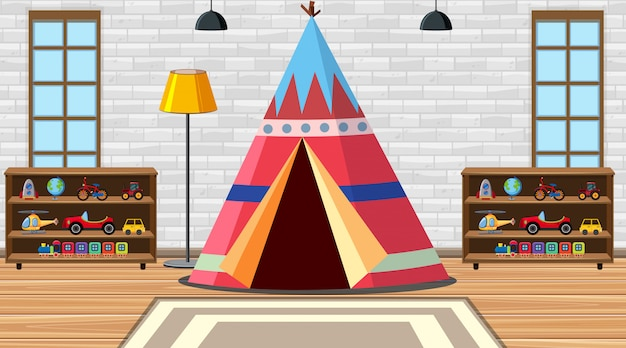Children room with tent and toys