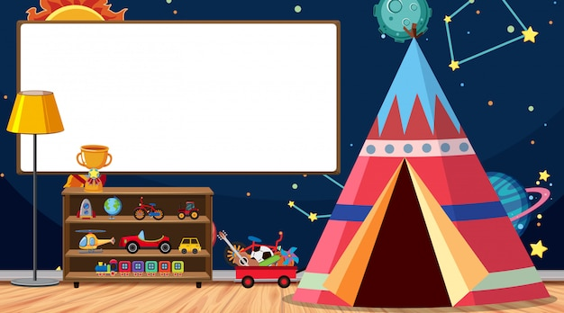 Children room with whiteboard and tent