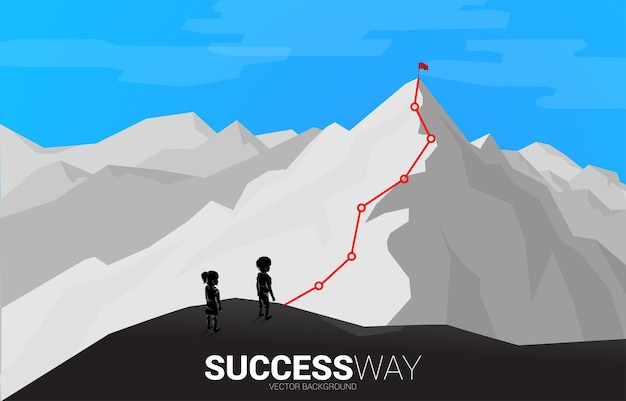 Children and route to the top of mountain. concept of goal, mission, vision, career path, vector concept polygon dot connect line style