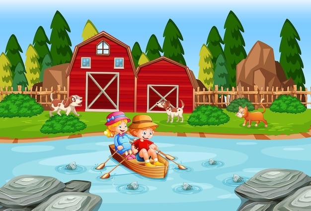 Children row the boat in the stream farm scene