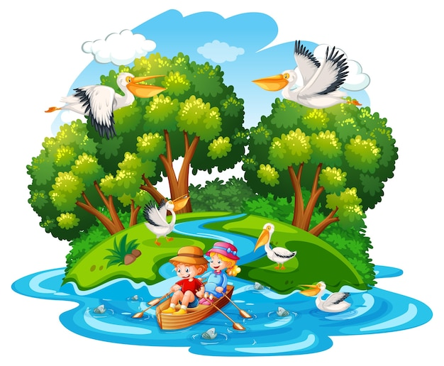 Children row the boat in the stream forest scene