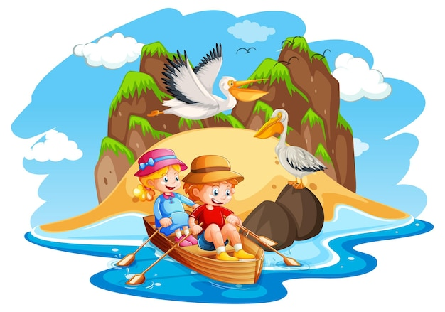Дети гребут на лодке в морской сцене