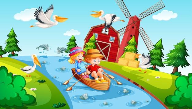 Дети гребут на лодке в сцене фермы ручья