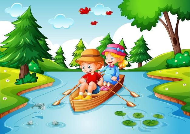아이들은 스트림 숲 장면에서 보트를 젓 무료 벡터