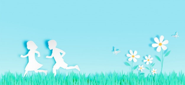 Children run among beautiful flowers with grass field in paper art style vector illustration