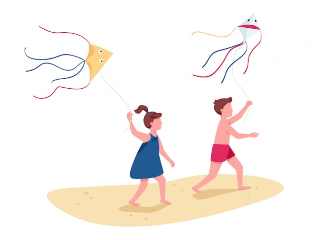 Children running with flying kites flat color faceless characters