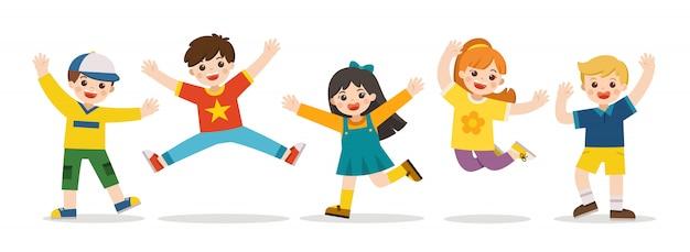 어린이 활동. 함께 점프하는 행복 한 아이. 남학생과 여학생이 함께 즐겁게 놀고 있습니다. 벡터 일러스트 레이 션.