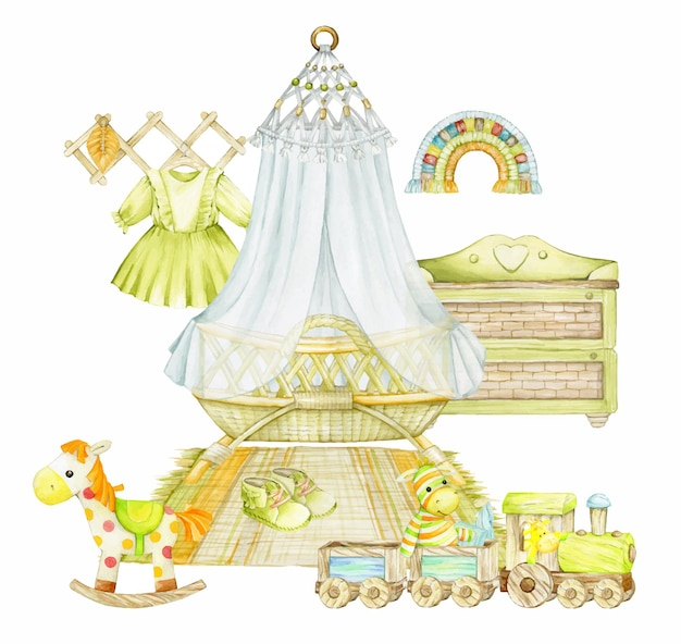 Children's bed, canopy, wooden train, chest of drawers, clothes, horse, macrame. Premium Vector