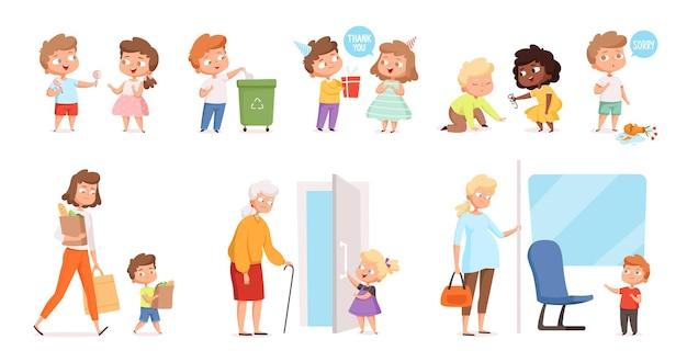 Children's behaviors. children helping and respecting adult people