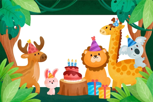Children's birthday background with animals