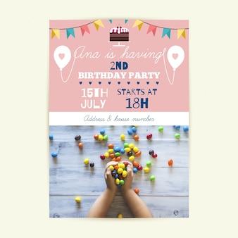子供の誕生日カードの招待状テンプレート写真