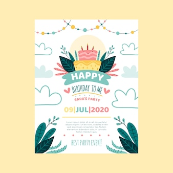 Children's birthday card/invitation template with cake