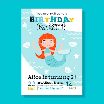 Children's birthday card/invitation template with mermaid