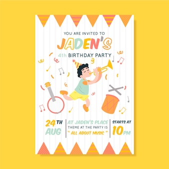 Children's birthday card/invitation template with music and fun