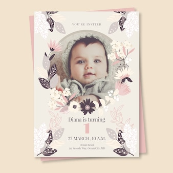 Children's birthday card invitation template with photo