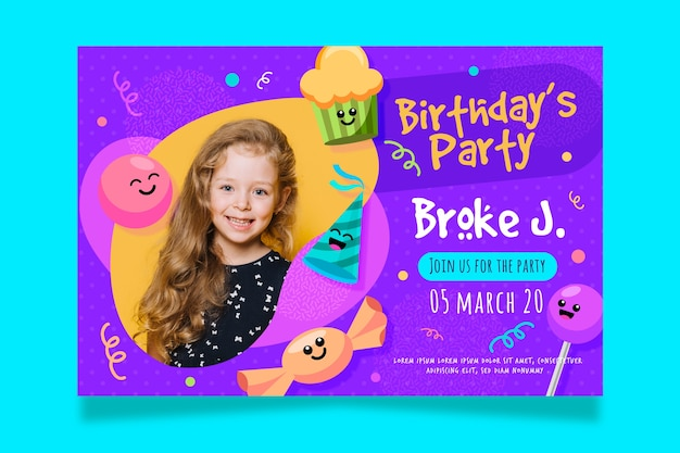 Children's birthday card invitation template