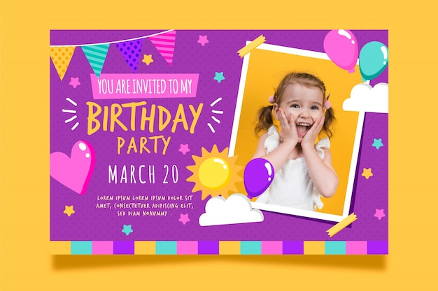 Children's birthday card invitation with photo