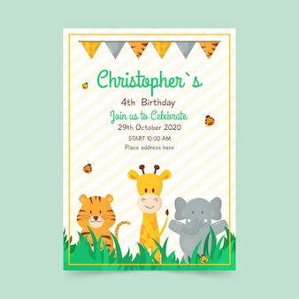 Children's birthday card template with animals