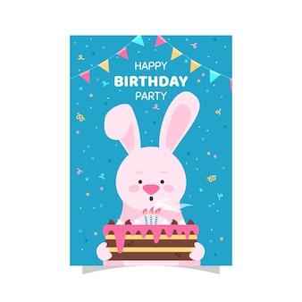 バニーと子供の誕生日カードテンプレート