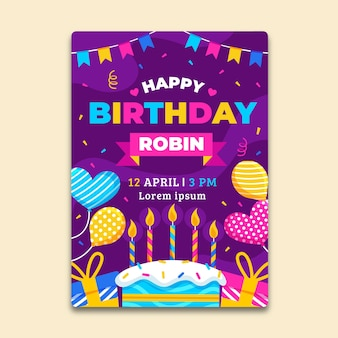 Children's birthday card template with cake and balloons
