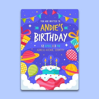 Children's birthday card template with cake and planets