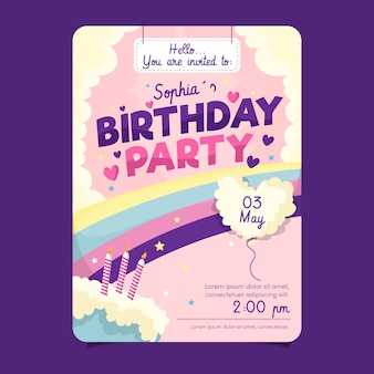 Children's birthday card template with cake