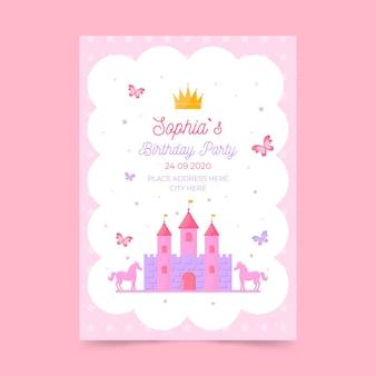 Modello di biglietto d'auguri per bambini con castello