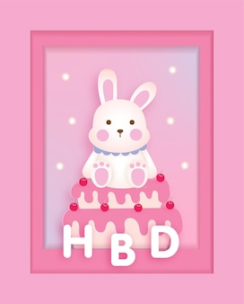 Children's birthday card template with cute bunny rabbit