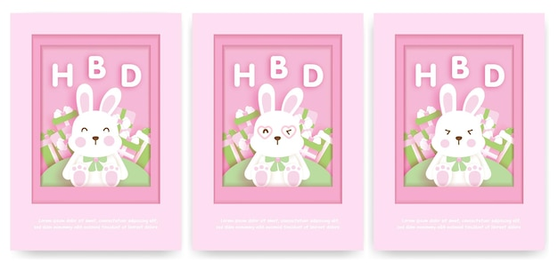 Children's birthday card template with cute bunny rabbit.