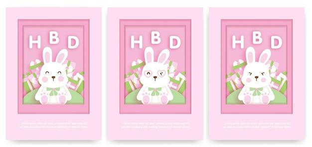 Детский шаблон поздравительной открытки с милым кроликом.
