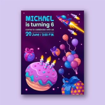 Children's birthday card template with illustrations