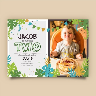 Children's birthday card template with leaves and greenery