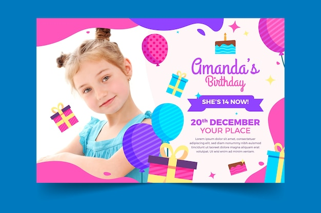 Children's birthday card template with photo