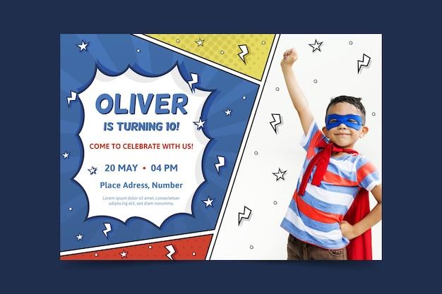 Modello di biglietto d'auguri per bambini con foto