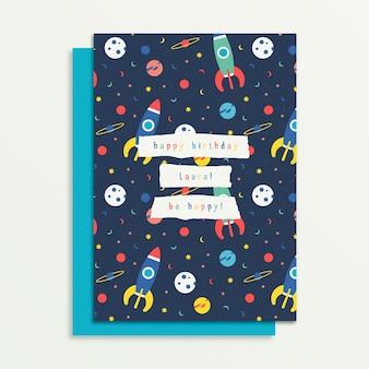 Children's birthday card template with rocket style